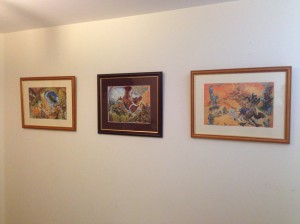 Framed Discworld pictures up on the wall